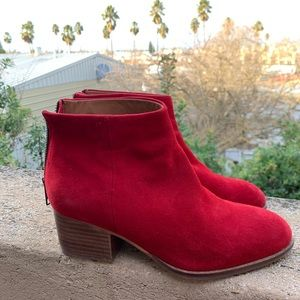 Seychelles flood plain red suede booties